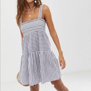 Asos Trapeze Mini Cotton Sundress Stripes 12